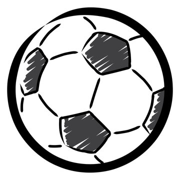 Hatched drawing of a soccer ball / vector, isolated
