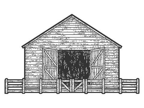 Sheepfold, barn for farm animals. Engraving raster illustration. Sketch scratch board imitation.
