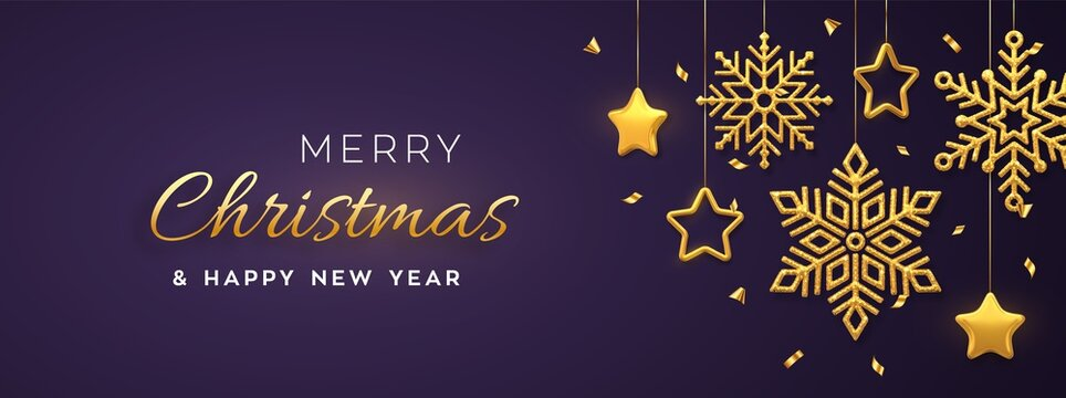 Christmas purple background with hanging shining golden snowflakes and 3D metallic stars. Merry christmas greeting card. Holiday Xmas and New Year poster, web banner. Vector Illustration.