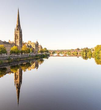 St Matthews Church and River Tay, Perth, Scotland UK