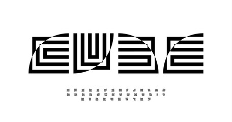 Geometric abstract alphabet, decorative letters. Distorted square type for modern fashion or architecture logo, and monogram. Optical illusion typography. Maze bold font, vector typographic design