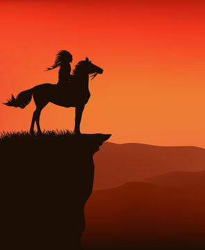 sunset wild west vector silhouette scene with native american chief riding horse at cliff top with view over mountains