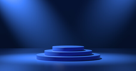 Blue circular display platform
