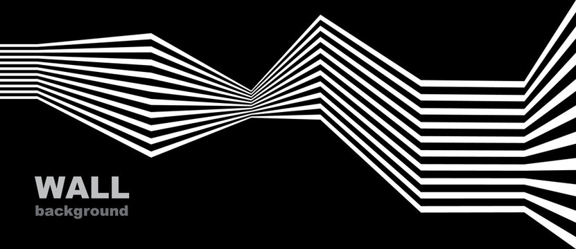 Abstract background with lines. Stripes optical art illusion. Monochrome geometric pattern.