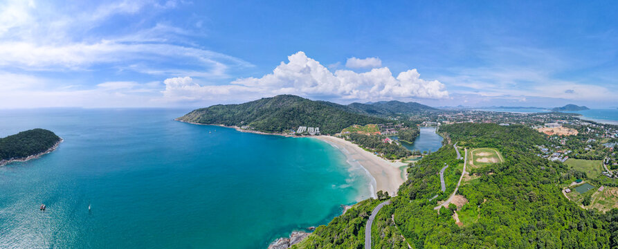 Aerial view of drone. Panorama view of naiharn beach Phuket Thailand