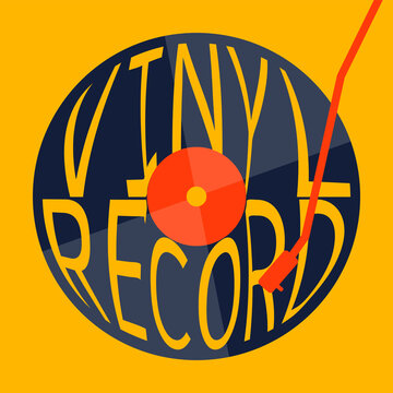 vinyl record music vector with yellow background graphic