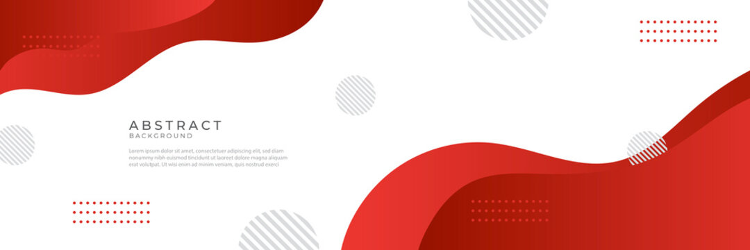 Modern liquid red abstract background. Red white fluid vector banner template for social media, web sites. Wavy shapes