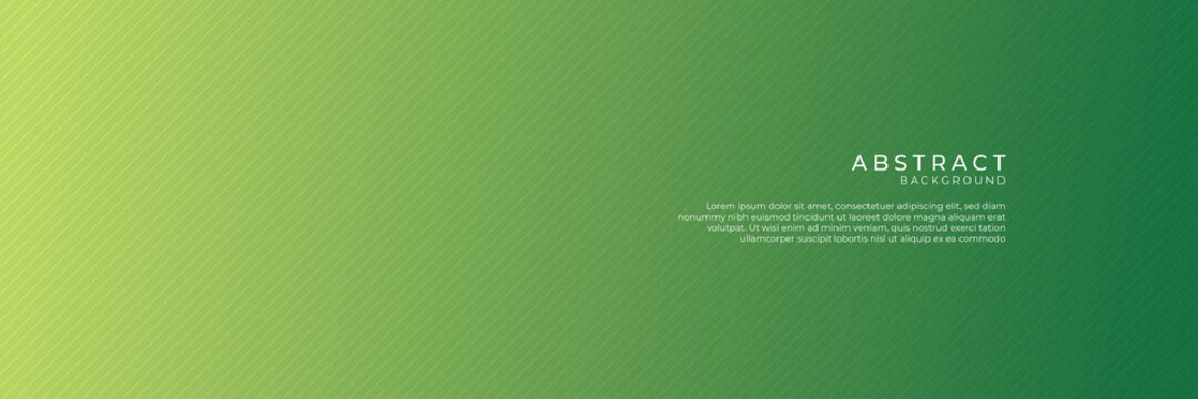 Green abstract background for wide banner with modern pattern material texture