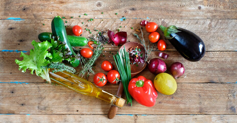 Fresh ingredients for salad,various vegetables,organic food, healthy eating concept, good copy space, flat lay