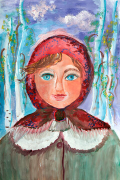 Image drawing portrait of a beautiful girl in a traditional winter costume on a nature background.