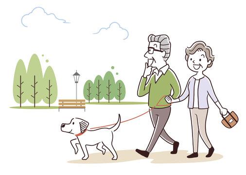 ベクターイラスト素材:犬の散歩をするシニア夫婦