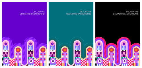 Three options of decorative geometric pattern background. Vector mockup designs. Layered EPS 10.