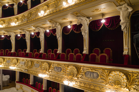 Lviv, Ukraine - March 17, 2020: Lviv opera house interior
