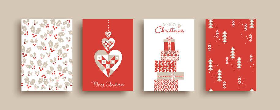 Christmas New Year retro folk art card pattern set