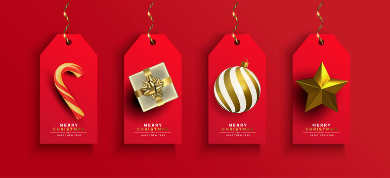 Christmas New Year gold 3d gift ornament tag set