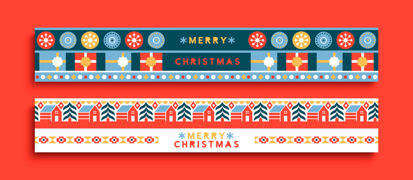 Merry Christmas folk winter ornament banner set