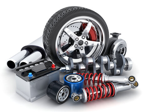 Wheel and many other car parts on white background