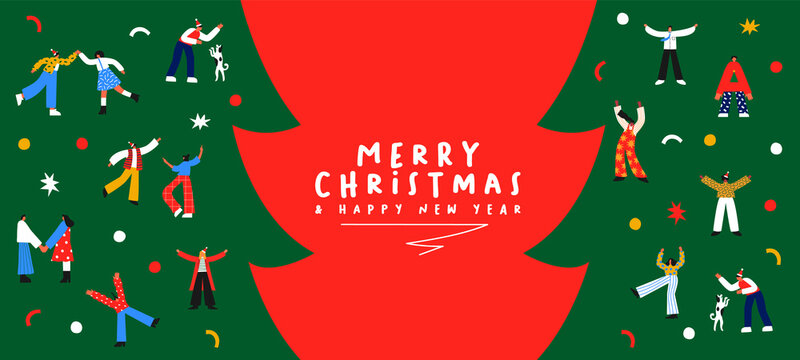 Christmas New Year cartoon people party banner