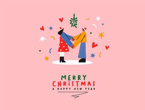 Christmas New Year couple under mistletoe cartoon