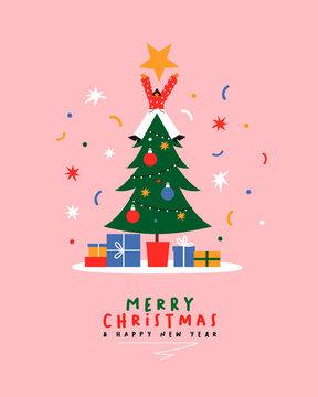 Christmas New Year fun cartoon girl pine tree card