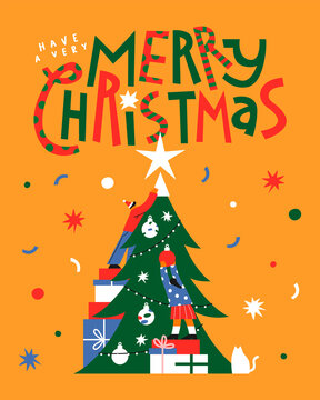 Merry Christmas friends pine tree together card