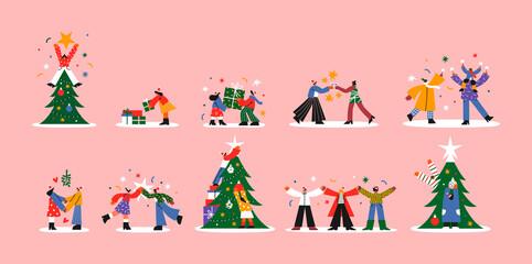 Christmas cartoon people big collection isolated