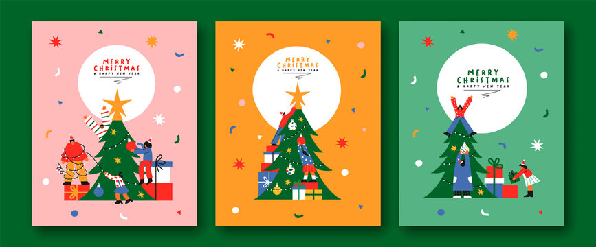 Christmas flat cartoon friends pine tree card set