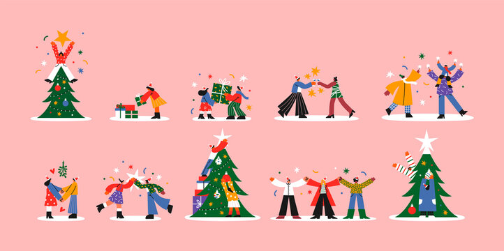 Christmas cartoon people big collection isolated
