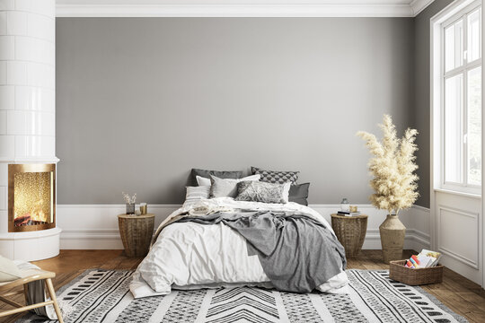 White gray bedroom interior with fireplace carpet, dry plants and decor. 3d render illustration mock up.