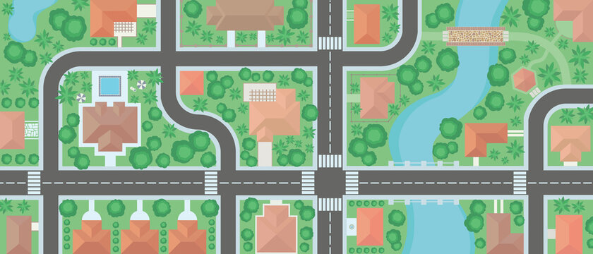 Wide aerial view neighborhood map cartoon vector, residential area from above, river crossing town illustration