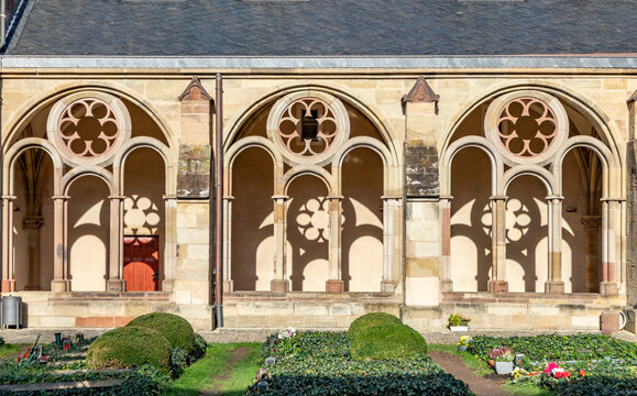 scenic old arch in the monastery of Saint Peter, church in Trier