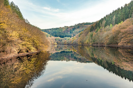 barrage small Drohn in Leiwen. Germany with reflection of forest