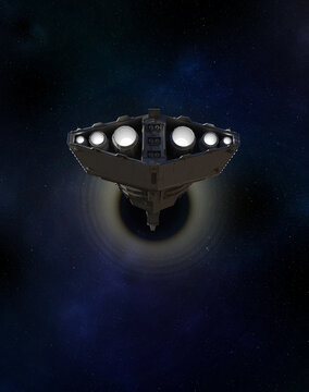 Light Spaceship Battle Cruiser Entering a Wormhole in Outer Space, 3d digitally rendered science fiction illustration