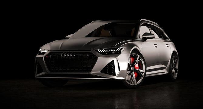 Audi RS6 Avant luxury stylish car isolated on black background. Almaty, Kazakhstan. MARCH 28, 2020. 3D render.