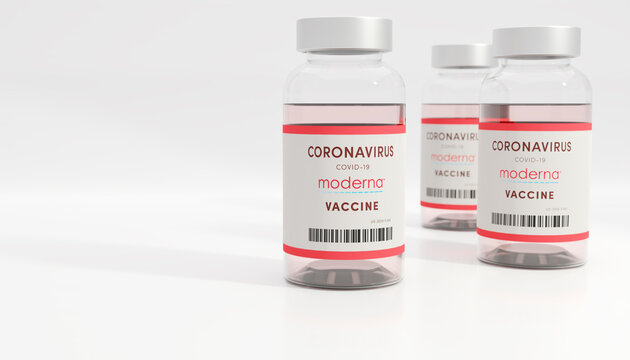 Guilherand-Granges, France - November 13, 2020. Covid-19 vaccine with Moderna logo. American biotechnology company that focus on drug development and vaccine technologies.