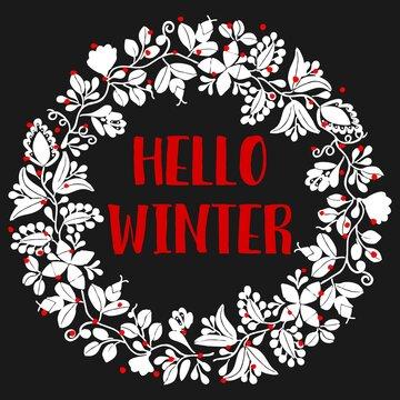 Hello winter wreath vector card