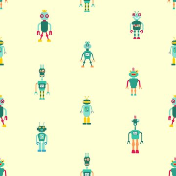Fashion pattern - toy robots