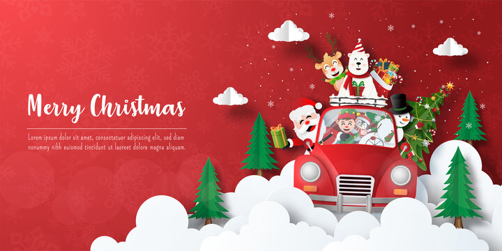 Merry Christmas and Happy New Year, Christmas banner postcard of Santa Claus and friends in a Christmas car