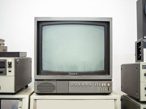 KIEV, UKRAINE-JULY 23, 2019: Sony Trinitron vintage TV set (80s or 90s)