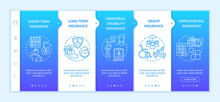 Disability insurance types onboarding vector template. Working group insurance types. Health treatment. Responsive mobile website with icons. Webpage walkthrough step screens. RGB color concept