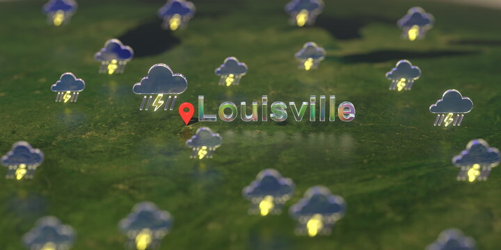 Stormy weather icons near Louisville city on the map, weather forecast related 3D rendering