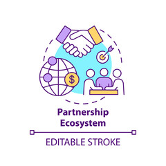 Obraz Partnership ecosystem concept icon. Digital consulting component idea thin line illustration. Company distribution strategy. Collaboration. Vector isolated outline RGB color drawing. Editable stroke - fototapety do salonu
