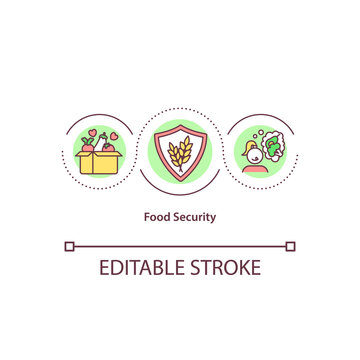 Food security concept icon. Hunger and malnutrition protection. Affordability and nutrition idea thin line illustration. Vector isolated outline RGB color drawing. Editable stroke.