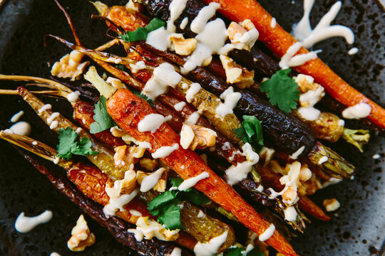 Roasted carrots with walnuts and tahini.