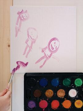 Watercolor stick figures