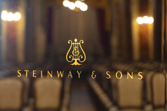 Lviv, Ukraine - June 12, 2020: Steinway & Sons logo on black pianoforte