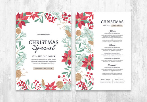 Christmas Menu Flyer Layout with Festive Foliage Illustrations