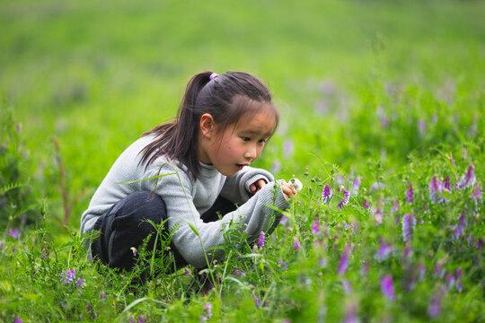 happy kid in spring day