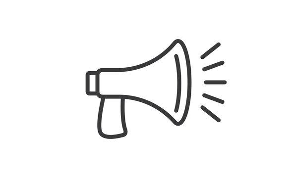 Loudspeaker megaphone linear vector icon