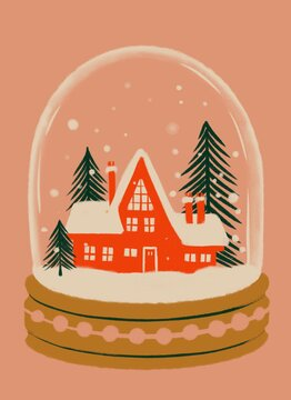 Snow globe with snow covered house inside